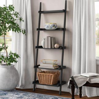 סולם מדפים מעץ בצבע שחור – LEO