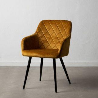 כיסא מעוצב מבד קטיפה בצבע חרדל – JOVA