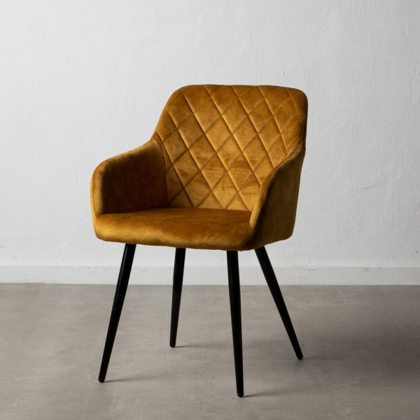 כיסא מעוצב מבד קטיפה בצבע חרדל - JOVA