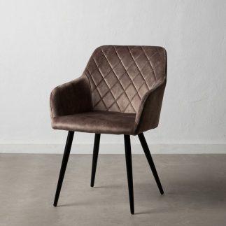 כיסא מעוצב מבד קטיפה בצבע אפור – JOVA