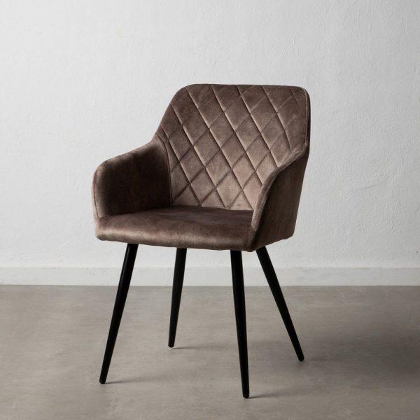 כיסא מעוצב מבד קטיפה בצבע אפור - JOVA