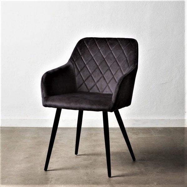 כיסא מעוצב מבד קטיפה בצבע שחור - JOVA