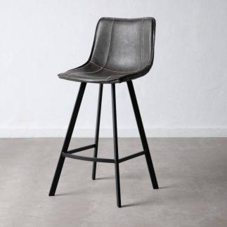 כיסא בר דמוי עור אפור – MORO
