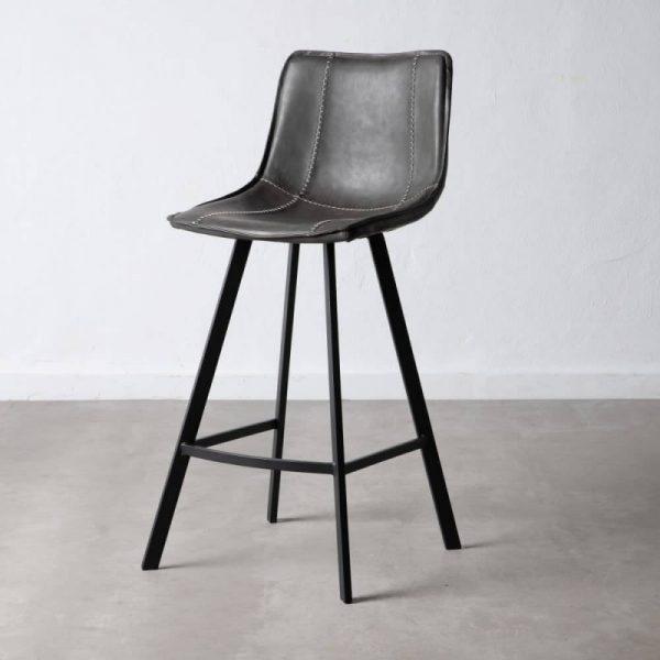 כיסא בר דמוי עור אפור - MORO