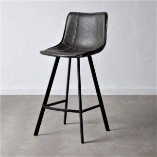 כיסא בר דמוי עור שחור – MORO