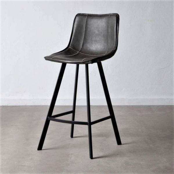 כיסא בר דמוי עור שחור - MORO