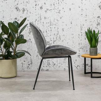 כיסא אוכל אפור מקטיפה – VELVA