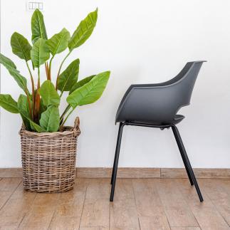 כיסא אוכל אפור מפלסטיק וברזל – SUNNY