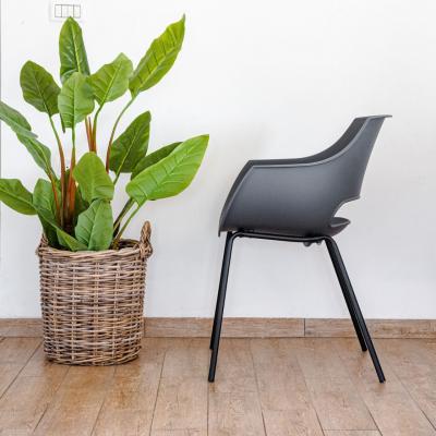 כיסא אוכל אפור מפלסטיק וברזל - SUNNY