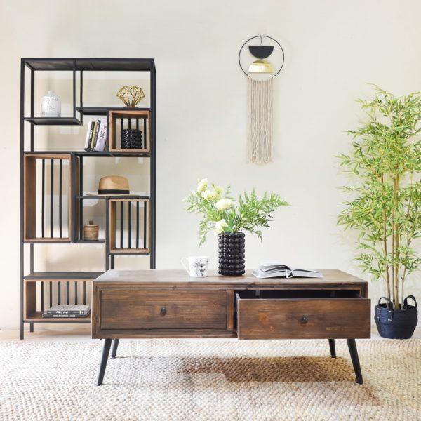 שולחן סלון מעץ ומתכת בשילוב מגירות - WELCOME