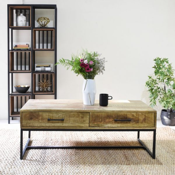 שולחן סלון מעץ מלא בשילוב מגירות - MANJO