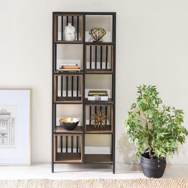 ספריית מתכת מעוצבת בשילוב עץ - TITI
