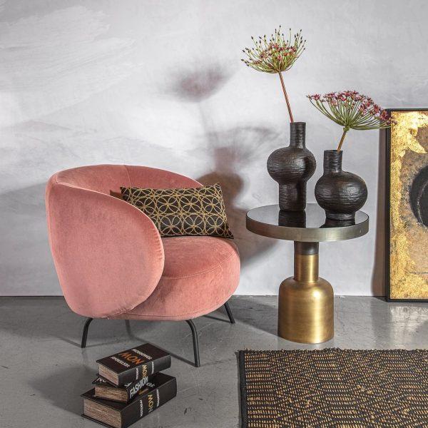 כורסא ורודה מבד קטיפה - PINKY