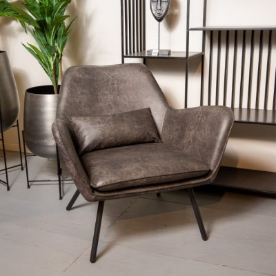 כורסא מבד דמוי עור  - WINCHESTER שחור