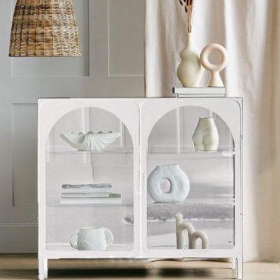 שידת מתכת לבנה  בשילוב זכוכית רטרו -  WHITE ICON