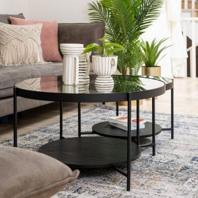 שולחן סלון שחור עגול בשילוב מדף - LUCKY