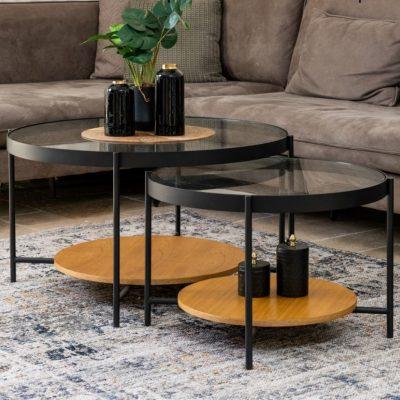 שולחן סלון עגול בשילוב מדף בצבע טבעי - LUCKY