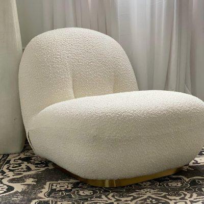כורסא לבנה מבד צמרי - LANA