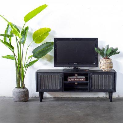 מזנון טלויזיה מעץ מנגו שחור עם זכוכית רטרו - ARNI